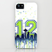 Seattle Seahawks 12th Man Fan Art iPhone & iPod Case by Olechka