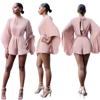 Pink Rompers with Flare Sleeves 22543