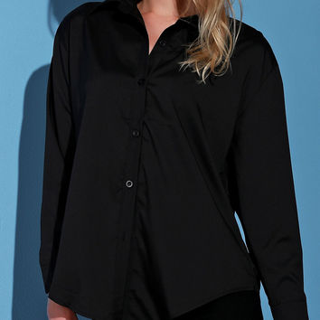 Black Single-Breasted Turn-Down Collar Long Sleeve Blouse