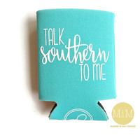 Turquoise Can Cooler // Talk Southern To Me Cozies // Married in May // Southern Cozies // Stocking Stuffer Christmas Gift // Gift for Her