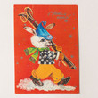 Russian New Year's postcard bunny skier - red winter Christmas postcard - Russian rabbit postcard blank