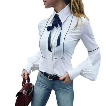 Elegant puff sleeve white blouse shirt Autumn winter sleeve bow blouse women blouse Slim new tops chemise