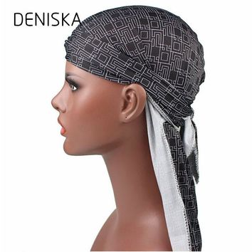 DENISKA Unisex Doo Rag Skull Cap Women Men Pattern Bandana Chemo Head Wrap Lacing Spandex King's Durag Biker Headwear Turban