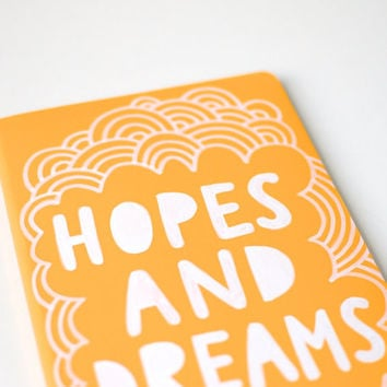 Hand Painted Moleskine, Hand Lettering, Hopes and Dreams, Mustard Yellow, Lined Journal, Doodle Illustration, Ready to Ship
