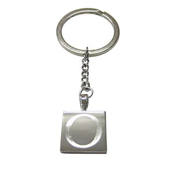 Letter O Etched Monogram Pendant Keychain