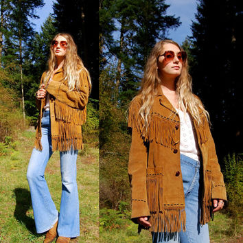 60's Suede Fringe Jacket, WHIPSTITCH Cognac Leather Jacket, Vintage 70's fringe Jacket, Fringed Coat, Rocker Festival Hippie Boho Jacket