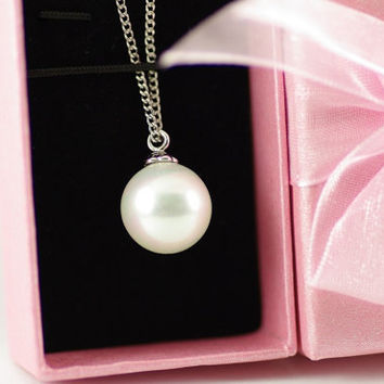 Solitaire White Pearl Necklace Set, White 18K Gold Plated, Wedding Pearl Necklace, Bridesmaid Pendant, Bridesmaid Necklace, Single Pearl