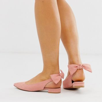 ASOS DESIGN Lizzie bow slingback ballet flats in blush | ASOS