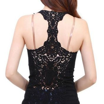 New women knitted cotton lace vest ladies maxi top basic sleeveless lace tank top shirt