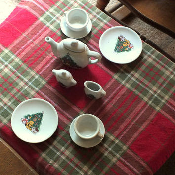 Vintage Child's Tea for Two Porcelain Christmas Tea Set