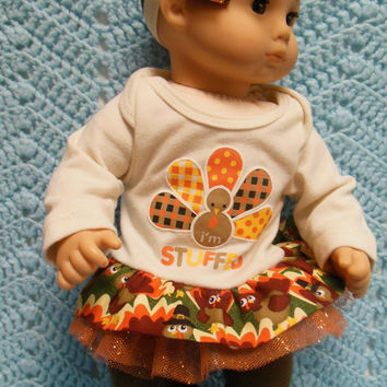 "American girl Bitty baby clothes Bitty twins clothes ""I'm Stuffed"" (15 inch)  Thanksgiving outfit dress leggings socks hair clip headband"
