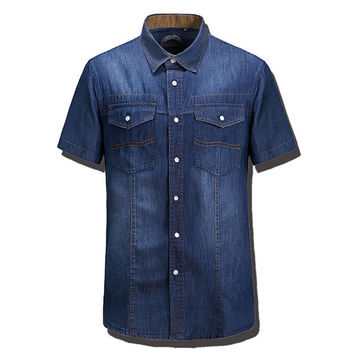 Summer Fashion Casual Loose Cotton Denim Shirt Plus Size Short Sleeve Dress Shirt For Men