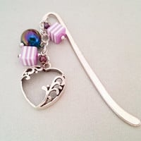 Violet and silver heart metal bookmark with acrylic beads great gift idea