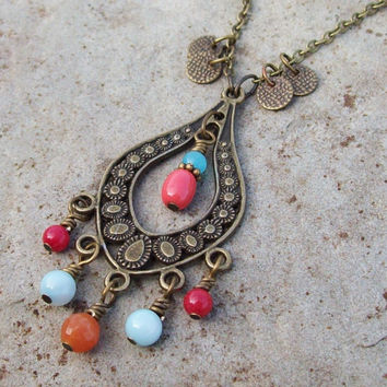 Chandelier Gypsy Necklace with Beaded Dangles - Long Chain Necklace - Pendant Necklace
