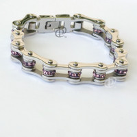 Stainless Steel Bicycle Chain Bracelet Polished Links Purple Beads