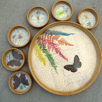 Real Pressed Butterfly Wings Flowers Bamboo Tray & Coasters Drink Snack Serving Set Garden Tea Party Serveware