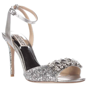 Badgley Mischka Amanda II Sparkle Ankle Strap Dress Sandals - Silver Glitter
