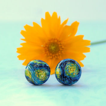 Van Gogh Starry Night Inspired Earrings, Blue and Gold Painted Titanium Studs, Art Lover Gift