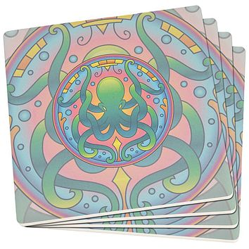 Mandala Trippy Stained Glass Octopus Set of 4 Square SandsTone Art Coasters