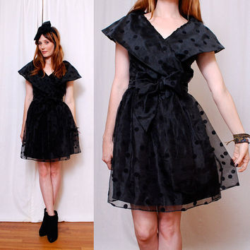 Cutest SHEER BLACK 80's Party Dress xs/s/m by paramountvintage