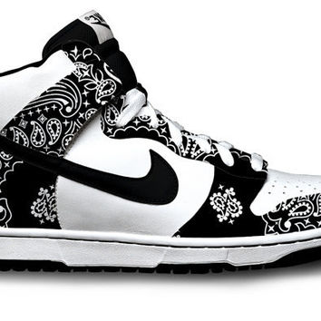 Paisley Bandana Nike Dunks by Customs4you on Etsy