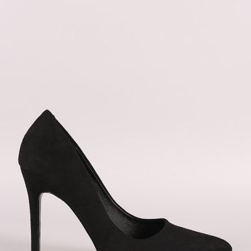 Pointy Toe Vegan Suede Stiletto Pump