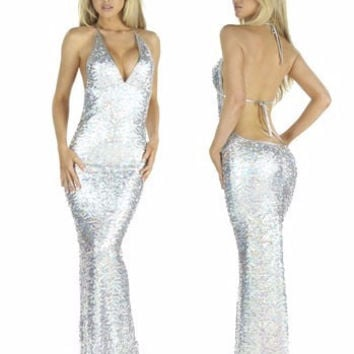 Silver Halter Backless Maxi Dress