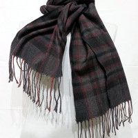 Black and Gray Scarf, Black and Gray Men's Scarf, Black and Gray Wool and Chasmere Men's Scarf - KR1411063