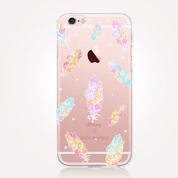Transparent Feathers Phone Case - Transparent Case - Clear Case - Transparent iPhone 6 - Gel Case - Soft TPU Case - Samsung S7