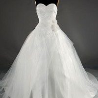 Ball gown Sweetheart Sleeveless Cathedral Train Satin Tulle Wedding Dress With  Embroidery Beading Hand-Made Flowers Free Shipping