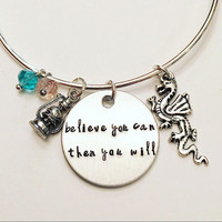 Believe You Can Then You Will Mulan Inspirational Disney Princess Inspired Stamped Adjustable Bangle Charm Bracelet