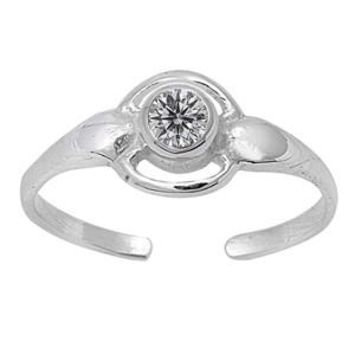 Sterling Silver CZ Round Designer Toe Ring/ Knuckle/ Mid-Finger 7MM