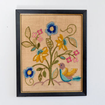 Vintage Crewel Bird and Flower Wall Hanging, Framed Embroidery Picture