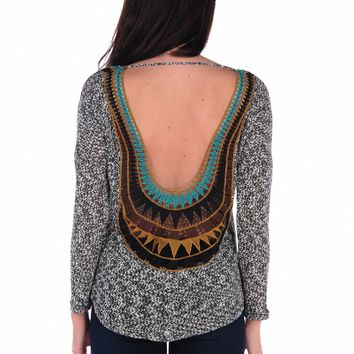 Vintage Havana Color Patch Back Scoop Top