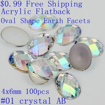 PEAPGB2 100pcs 4x6mm colorful acrylic falt back oval shape earth facets AB colors beads nail art decorate diy