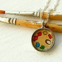Hand Painted Necklace Miniature Art Pendant by tuckooandmoocow