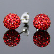 Red Crystal Shamballa Studs Earrings