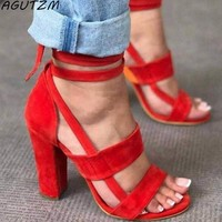 AGUTZM Summer 10cm Shoes Woman 2018 Women's Sandals High Heel Gladiator Cross-tied Lace-Up Casual Ankle Strap Pumps
