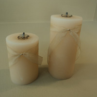 Designer Oil Candles Set of 2 3in D x 4 & 6in H Peach Traditional Plastic -- Used