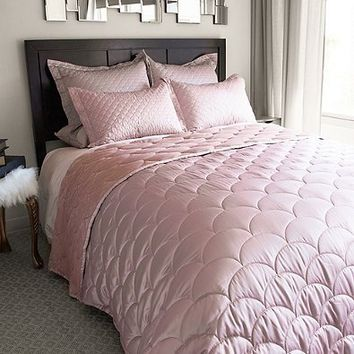 Nikki Chu Reversible Brushed Velvet King Blanket in Rose Gold
