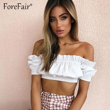 Forefair Crop Tops Women 2018 Summer Lantern Sleeve Off Shoulder Sexy Strapless Beach Tops Pink Black White Ruched Tank Top