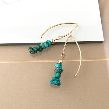 Turquoise Earrings, Gold Turquoise Earrings, Gold Raw Turquoise Earrings, Raw Turquoise Earrings, Raw Turquoise, Turquoise
