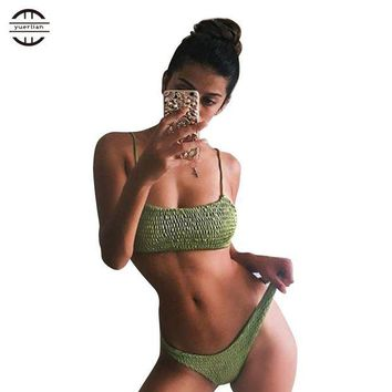 VONETDQ Yuerlian Hot Sexy Biquini 2017 Women Bra Swimsuit Brazilian Thong Femme Bathing Suit Top Triangle Bikini Girls Green Swimwear