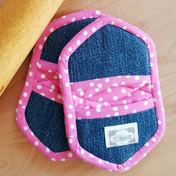 Mini Oven Mitts Mini Potholders polka dots in Pink Reday to Ship