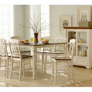 Homelegance Ohana 6 Piece Counter Height Dining Room Set in White
