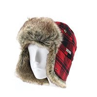 FUR WINTER Wool Blend Buffalo Check Faux Fur Aviator Bomber Trapper Hat BLK/RED S/M