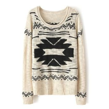 ZLYC Women Girls Fashion Round Neck Long Sleeve Beige Pullover Sweater Jumper