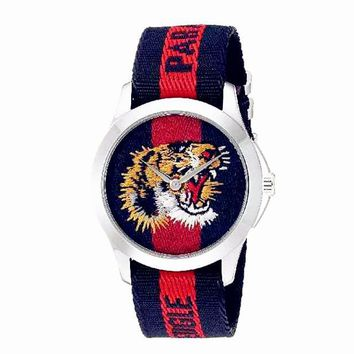 GUCCI Ladies Men Tiger Embroidery Watches Wrist Watch