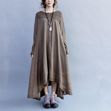 Women Dress Autumn Cotton Linen Midi Kaftan Long Sleeve O Neck Lace Crochet Asymmetric Hem Pullover Brief Vintage Vestido