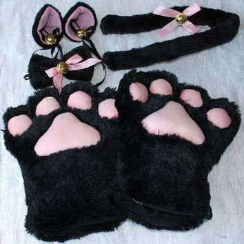Cat Ears + Paw Claw Gloves + Tail Cosplay / Costume Set